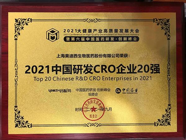 Top Chinese R&D CRO Enterprises in 2021